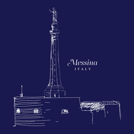 sloppy: Freehand digital drawing of Messina, Italy. Sketchy doodle lines and sloppy coloring, touristic travel destination concept, vector illustration.