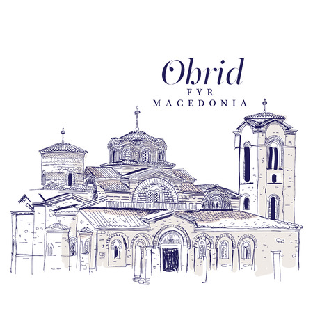 Freehand digital drawing of the Church of Panteleimon, Ohrid. Illustration