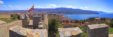Ohrid, Macedonia - April 8, 2017: The historical fortress of Tsar Samuel on the hill top in Ohrid, Macedonia. Editorial