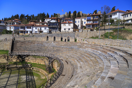 Ohrid, Macedonia - April 8, 2017: View of the ancient Greek amphitheater, later turned into a gladiator arena by the Romans in Ohrid, Macedonia