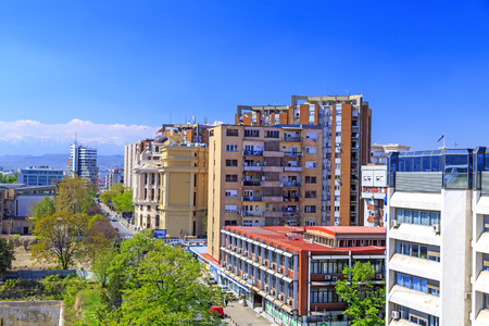 Skopje, Macedonia - April 10, 2017: View from the central district of Skopje, the Macedonian capital. Editorial
