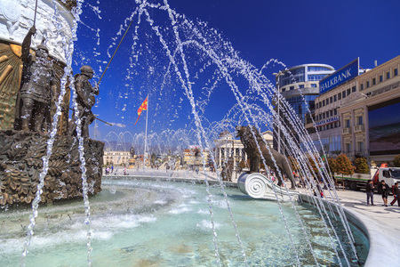 Skopje, Macedonia - April 10, 2017: Lion statue of a fountain at the Macedonian Square, downtown of Skopje, Macedonia
