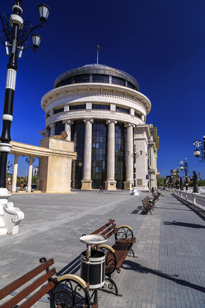 Skopje, Macedonia - April 10, 2017: View from downtown Skopje, the Macedonian capital. Mother Teresa Square and the Opera House of Macedonia