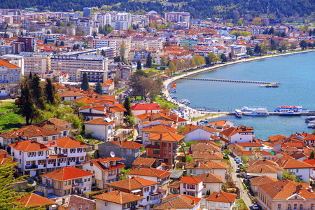 Ohrid, Macedonia - April 8, 2017: Coastal view of Ohrid, a small city by the Lake Ohrid in southwest of FYR Macedonia.