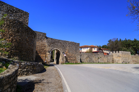 The historical fortress of Tsar Samuel on the hill top in Ohrid, Macedonia. Stock Photo