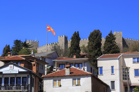 samuel: Ohrid, Macedonia - April 8, 2017: The historical fortress of Tsar Samuel on the hill top in Ohrid, Macedonia. Editorial