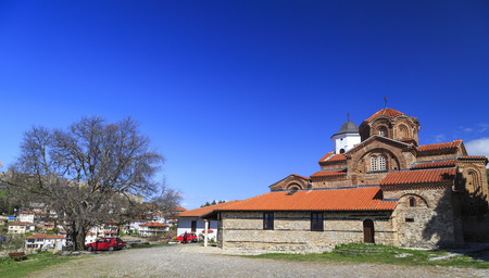 Ohrid, Macedonia - April 8, 2017: Exterior view of Church Holy Mary Perybleptos and St. Demetrius os Salonica in Ohrid, Macedonia.