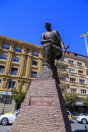 Skopje, Macedonia - April 10, 2017: Bronze sculpture of Hristo Uzunov in downtown Skopje, Macedonia Editorial