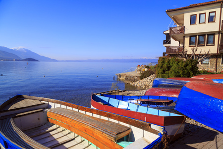 Coastal view of Ohrid, a small city by the Lake Ohrid in southwest of FYR Macedonia. Stock Photo