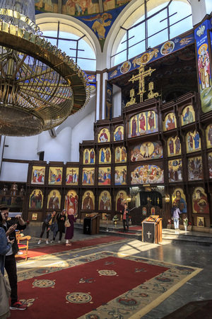 clement: Skopje, FYR Macedonia - April 10, 2017: Interior view of St. Clement of Ohrid or Kliment Ohridski Church in Skopje, Macedonia. Editorial