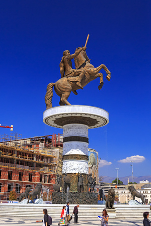 Skopje, Macedonia - April 10, 2017: Monument of Alexander the Great and falanga warriors at the Macedonian Square, downtown of Skopje, Macedonia