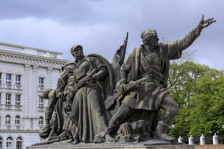 Skopje, Macedonia - April 6, 2017: Monument reflecting the Macedonian peoples effort in front of the Macedonian Government Building in Skopje.