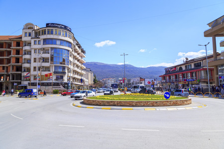 generic location: Ohrid, Macedonia - April 8, 2017: Street view from the cenral district of Ohrid, a touristic town by the Lake Ohrid, FYR Macedonia Editorial