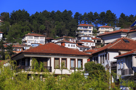 generic location: Generic architecture of Ohrid town in FYR Macedonia. Traditional Ottoman style residential buildings and tranquil streets.