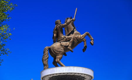 Monument of Alexander the Great and falanga warriors at the Macedonian Square, downtown of Skopje, Macedonia