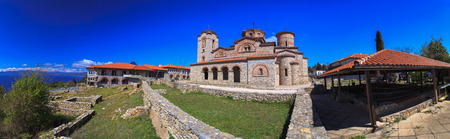 clement: Ohrid, Macedonia - April 7, 2017: Wide panoramic view of view of St. Panteleimon in Ohrid, Macedonia.