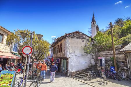 Skopje, Macedonia - April 5, 2017: Old Turkish bazaar and neighborhood of Ohrid, old center with Turkish restaurants and stores.