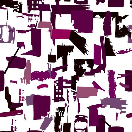 Artisanaal naadloos patroon met abstracte vormen en kleuren, willekeurige papieren vormen in herhalende compositie