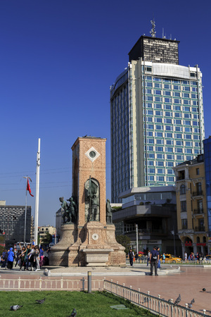 Istanbul, Turkey - December 9, 2015: View from Taksim Square, the busiest spot of Istanbul. The Republic Monument stands in the middle of the square.