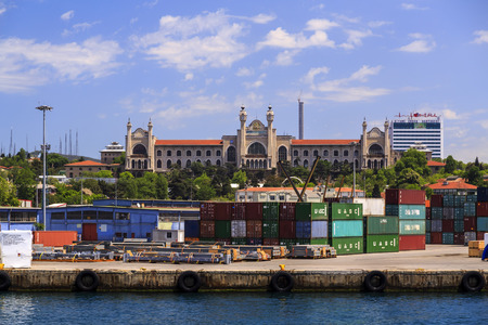 Istanbul, Turkey - May 14, 2017: View from Kadikoy commercial dock located at the Kadikoy coast, Asian side of Istanbul.