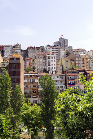 suburban neighborhood: Istanbul, Turkey - May 13, 2017: View from Elmadag district of Sisli, Istanbul. Elmadag is a busy area between Sisli and Taksim Square, known for old Art Deco style buildings.