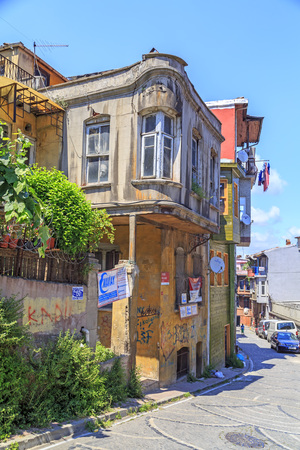 Istanbul, Turkey - May 28, 2017: Street view from Balat district of Fatih, Istanbul. Balat is one of the oldest neighborhoods in Istanbul with interesting architectural style and social diversity. Editorial