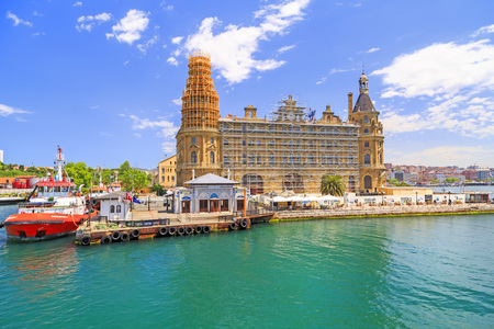 historical building: Istanbul, Turkey - May 14, 2017: View from the historical building of Haydarpasa Railway Station and Dockyard on Kadikoy coast, Asian side of Istanbul. Editorial