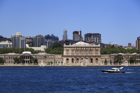 Istanbul, Turkey - May 14, 2017: Besiktas coastline, the European side of Istanbul. Dolmabahce Palace, old Ottoman palace, national museum of the present day.