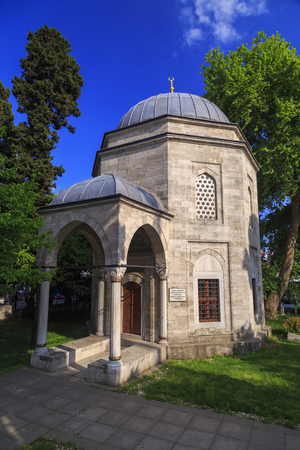 Istanbul, Turkey - May 14, 2017: The tomb of Barbaros Hayreddin Pasha, Ottoman admiral who conquested the North African territories, Besiktas, Istanbul. Editorial