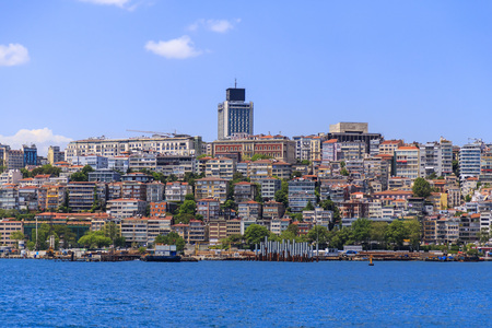 Istanbul, Turkey - May 14, 2017: Kabatas and Findikli coast, the European side of Istanbul. Coastline view generic architecture.