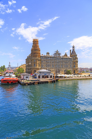 Istanbul, Turkey - May 14, 2017: View from the historical building of Haydarpasa Railway Station and Dockyard on Kadikoy coast, Asian side of Istanbul. Editorial