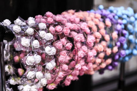 Hairpins with flowers, group of objects close up Stock Photo