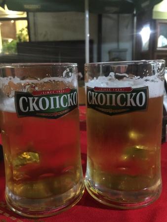 bar: Macedonian local Beer Skopsko, two large beer glasses