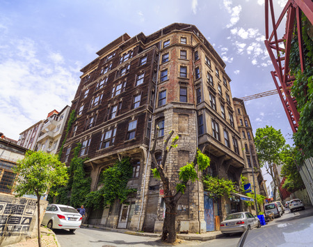 old center: Istanbul, Turkey - May 13, 2017: View from Elmadag district of Sisli, Istanbul. Elmadag is a busy area between Sisli and Taksim Square, known for old Art Deco style buildings.