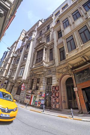 Istanbul, Turkey - May 13, 2017: Generic architecture in Cihangir, Beyoglu, Istanbul. Cihangir is a popular central neighborhood between the Taksim Square and the Bosphorus.