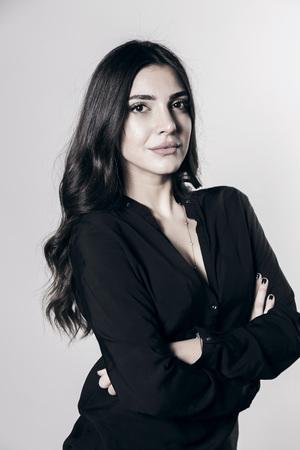 Young, beautiful, fresh casual female model, attractive girl studio portrait Stock Photo