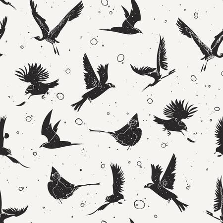 손으로 그린 단일 라인 조류, 예술적 낙서 라인 아트 디지털 아트 드로잉 태블릿에 만든 반복 배경으로 원활한 패턴 디자인 일러스트