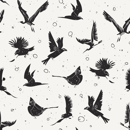 Seamless pattern design with handrawn single line birds, artistic doodle line art repeating background created on digital drawing tablet Illustration