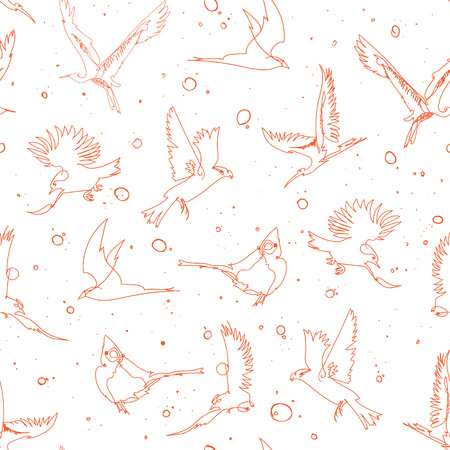 Seamless pattern design with handrawn single line birds, artistic doodle line art repeating background created on digital drawing tablet Иллюстрация