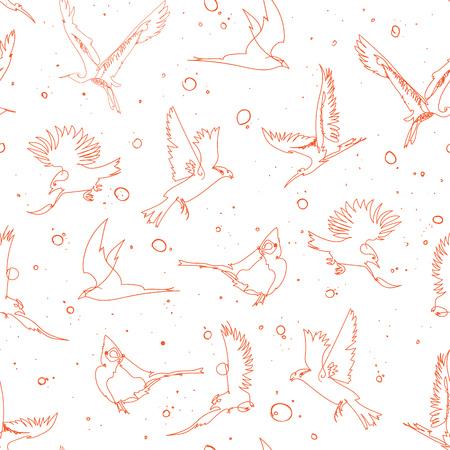 Seamless pattern design with handrawn single line birds, artistic doodle line art repeating background created on digital drawing tablet Ilustração