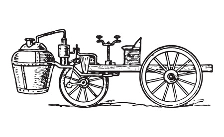 Vector engraving of vintage cugnot steam car invented in 1769.