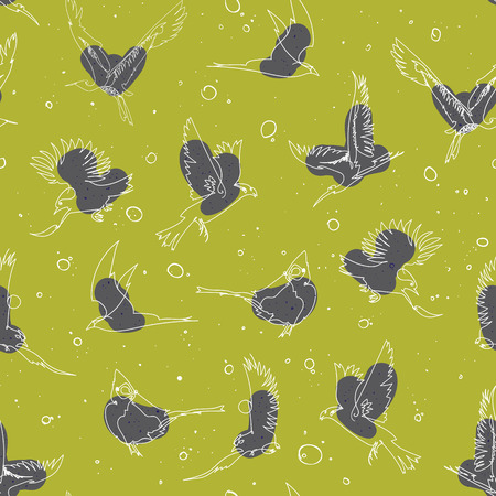 flocks: Seamless pattern design with handrawn single line birds, artistic doodle line art repeating background created on digital drawing tablet Illustration