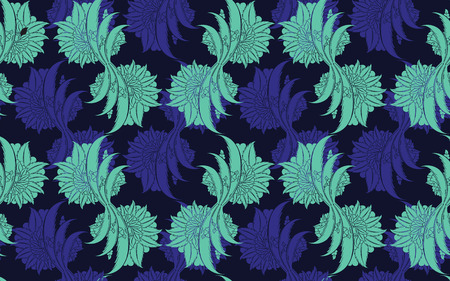 creative: Seamless pattern design with traditional Turkish style flowers, damask repeating background