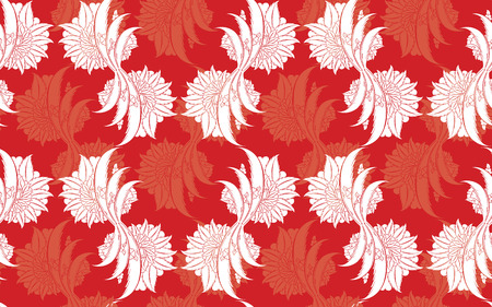 Seamless pattern design with traditional Turkish style flowers, damask repeating background