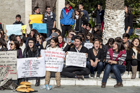 BODRUM,TURKEY-MARCH 12, 2014: Young students protesting the killing of Berkin Elvan, the child victim of Gezi Protests. 16-year-old Berkin was shot dead by the Police forces. Editöryel