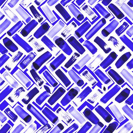 Watercolor brush strokes herringbone seamless pattern, artistic repeat background, handmade trendy mark-making surface pattern design