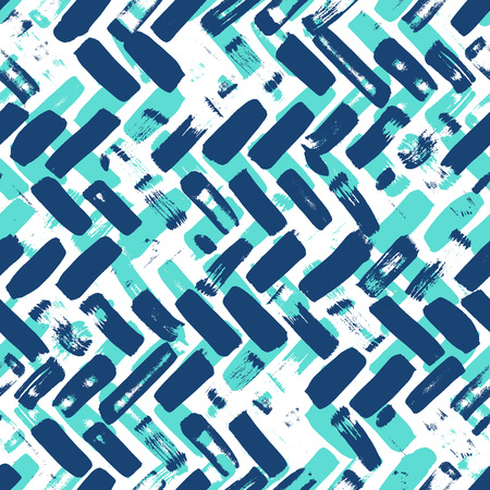 Abstract artistic herringbone, chevron seamless pattern design with random colorful brush strokes, repeating background, elegant surface pattern for web and print purposes Stock Photo