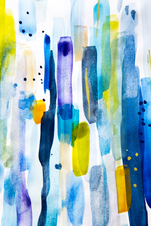 Abstract multicolored watercolor brush strokes close up texture