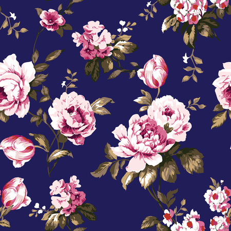 Shabby chic vintage roses, tulips and forget-me-nots vintage pattern.