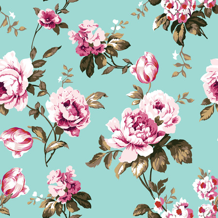Shabby chic vintage roses, tulips and forget-me-nots vintage pattern Illustration